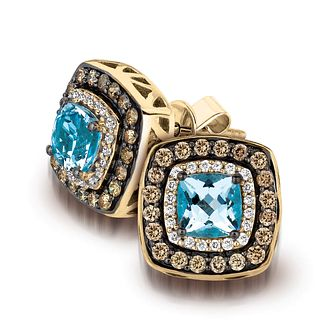 Le Vian 14ct Honey Gold Aquamarine & Diamond Earrings - Product number 3573877
