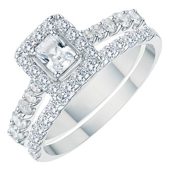 Platinum 1ct Radiant Cut Diamond Bridal Set - Product number 3574059