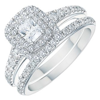 Platinum 1ct Radiant Cut Diamond Halo Bridal Set - Product number 3574350