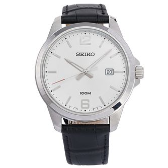 Seiko Men's Silver Dial Black Leather Strap Quartz Watch - Product number 3575918
