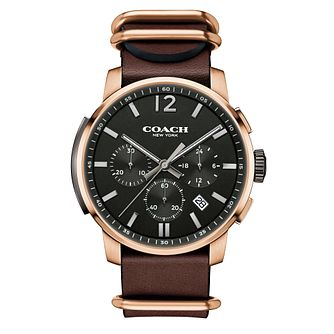 Coach Men's Rose Gold-tone  Back Dial Strap Watch - Product number 3585085