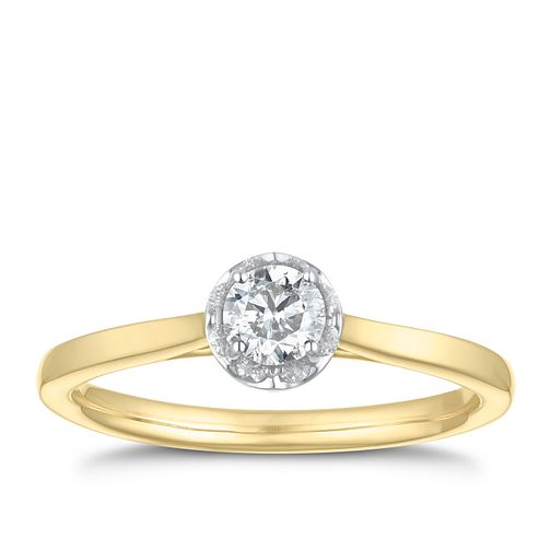 9ct Yellow Gold 1/3ct Diamond Solitaire Ring - Product number 3585360