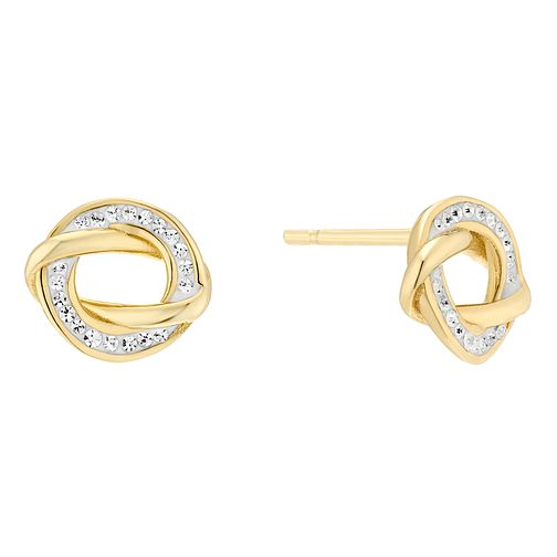 Evoke Silver Gold Plated Crystal Swirl Circle Stud Earrings - Product number 3589277