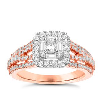 18ct Rose Gold 1ct Diamond Halo and Hidden Ruby Bridal Set - Product number 3592197
