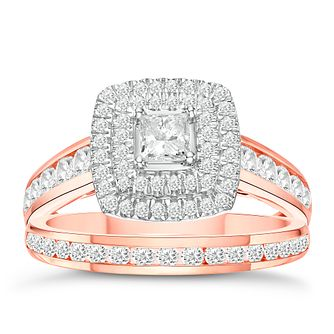 18ct Rose Gold 1ct Diamond and Hidden Ruby Bridal Set - Product number 3592545