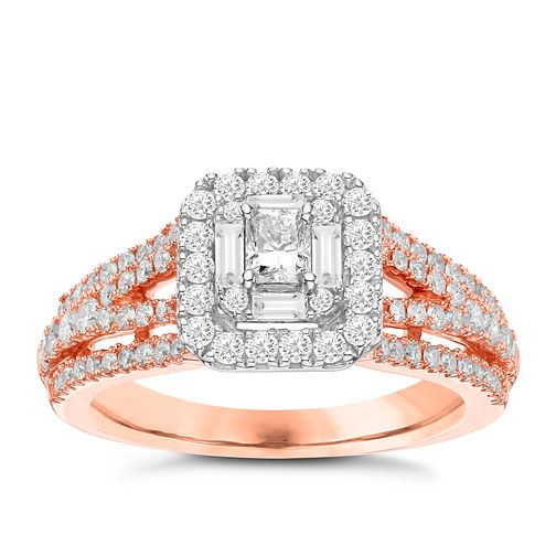 18ct Rose Gold 1ct Radiant Cut Diamond Cushion Halo Ring - Product number 3593452