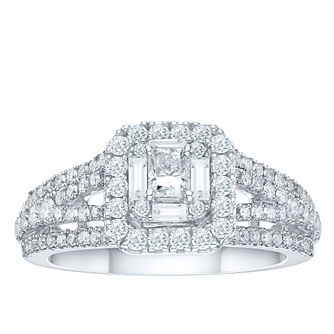 18ct White Gold 1ct Radiant Cut Diamond Cushion Halo Ring - Product number 3593746
