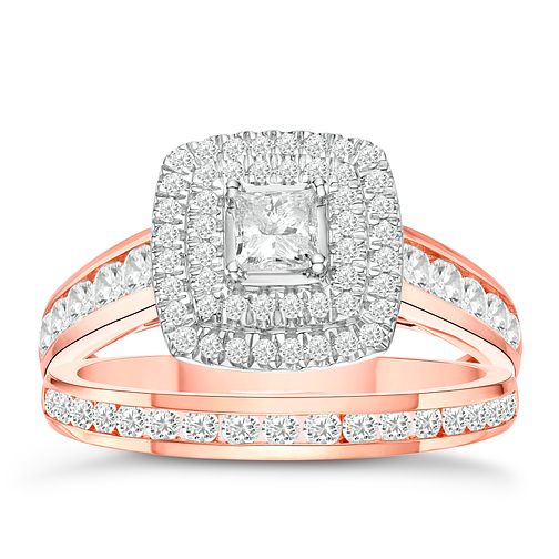 18ct Rose Gold 1ct Diamond Cushion Bridal Ring Set - Product number 3594289