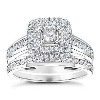 18ct White Gold 1ct Total Diamond Cushion Bridal Ring Set - Product number 3594521
