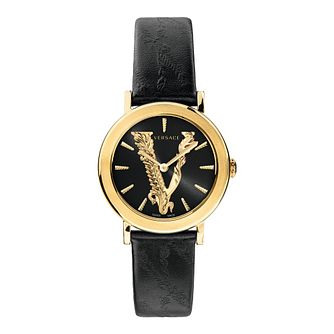 Versace Virtus Ladies' Black Leather Strap Watch - Product number 3594653