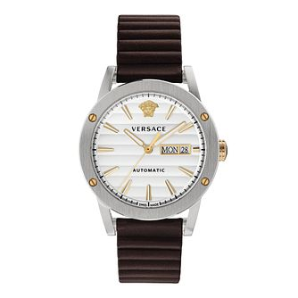 Versace Theros Men's Brown Leather Strap Watch - Product number 3594718