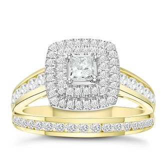 18ct Yellow Gold 1ct Diamond Cushion Bridal Ring Set - Product number 3594777