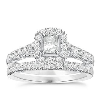 Platinum 1ct Diamond Cushion Bridal Ring Set - Product number 3595064