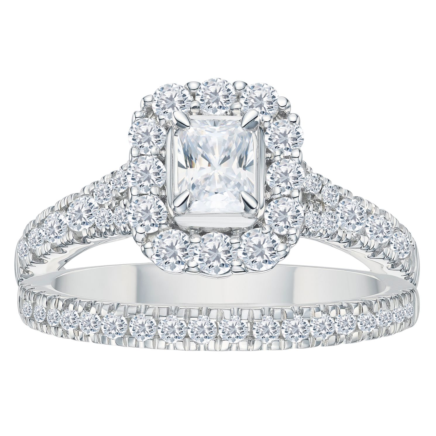 Platinum 1.5ct Total Diamond Cushion Bridal Ring Set - Product number 3595366