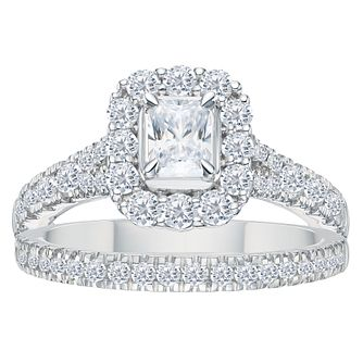 Platinum 1.5ct Radiant Cut Cushion Bridal Ring Set? - Product number 3595366