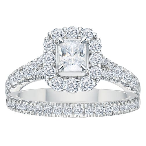 Platinum 1.5ct Radiant Cut Cushion Bridal Ring Set - Product number 3595366