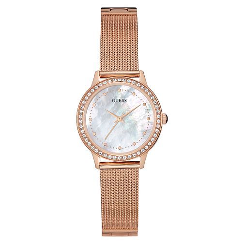 Guess Ladies' Rose Gold Plated Mesh Bracelet Watch - Product number 3596109