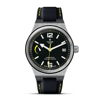 Tudor North Flag Men's Black Leather Strap Watch - Product number 3596559