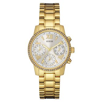 Guess Ladies' Yellow Gold Plated Stone Set Bracelet Watch - Product number 3596818