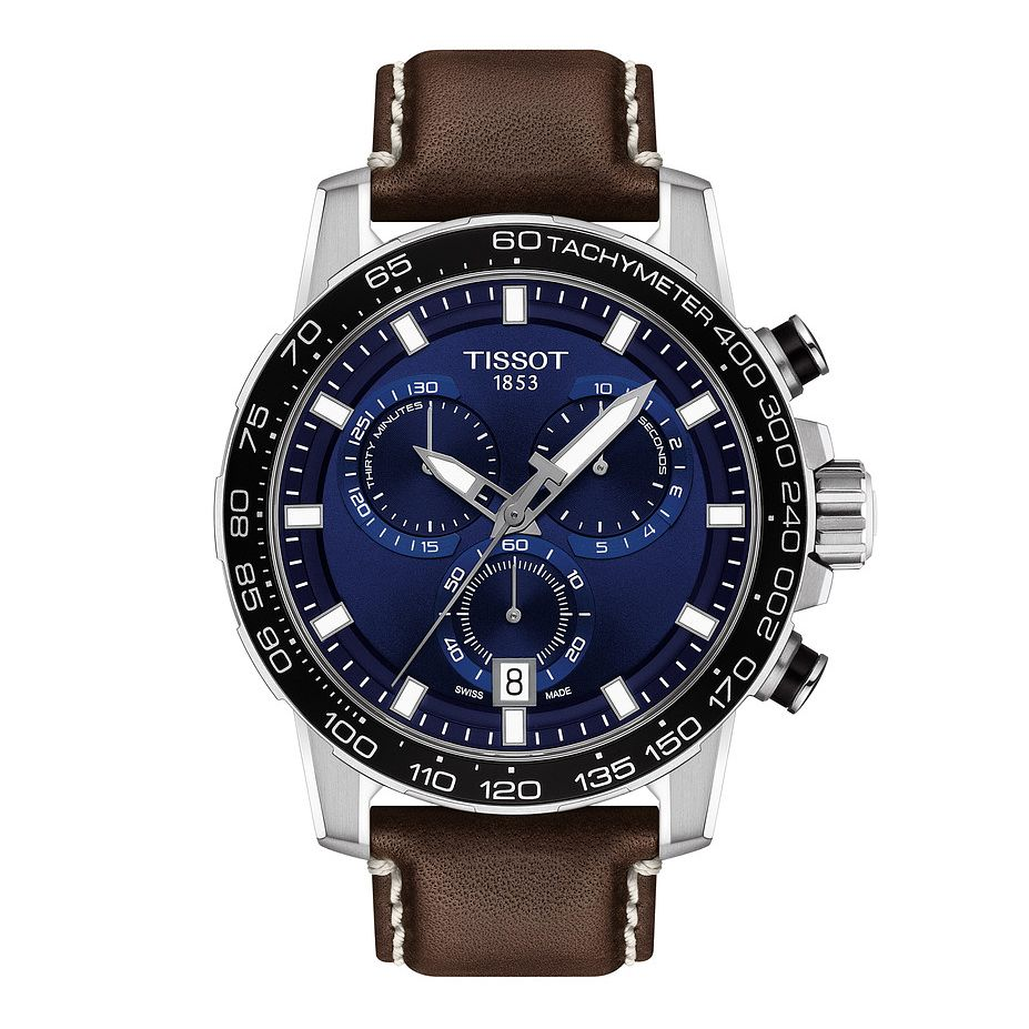 Tissot Supersport Chrono Men's Brown Leather Strap Watch - Product number 3597334