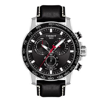 Tissot Supersport Chrono Men's Black Leather Strap Watch - Product number 3597393