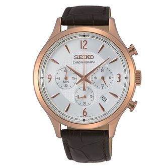Seiko Classic Dress Chronograph Brown Leather Strap Watch - Product number 3597784