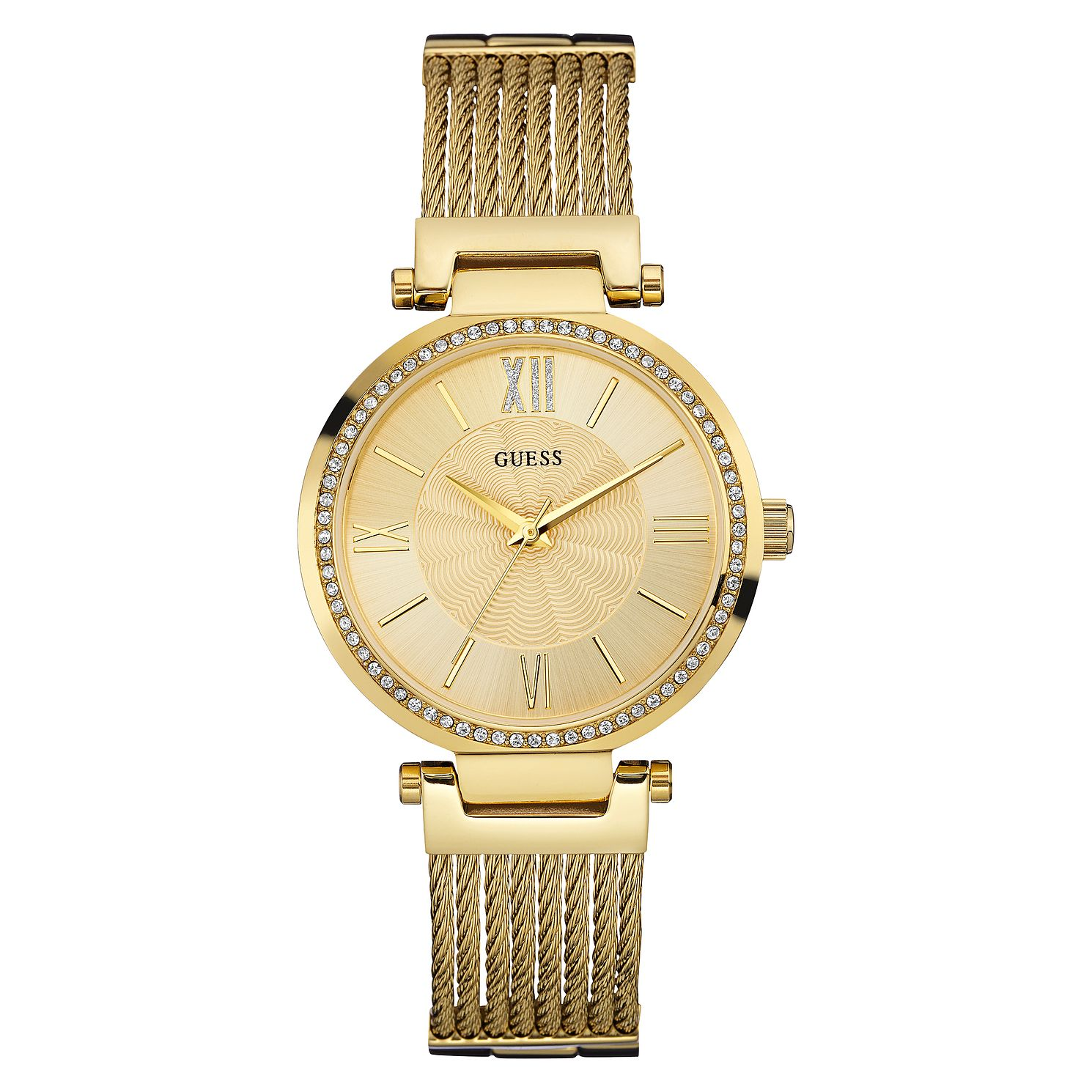 Guess Ladies' Yellow Gold Tone Rope Style Bracelet Watch - Product number 3597822