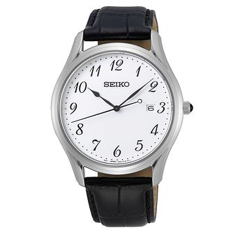 Seiko Classic Black Leather Strap Watch - Product number 3598136
