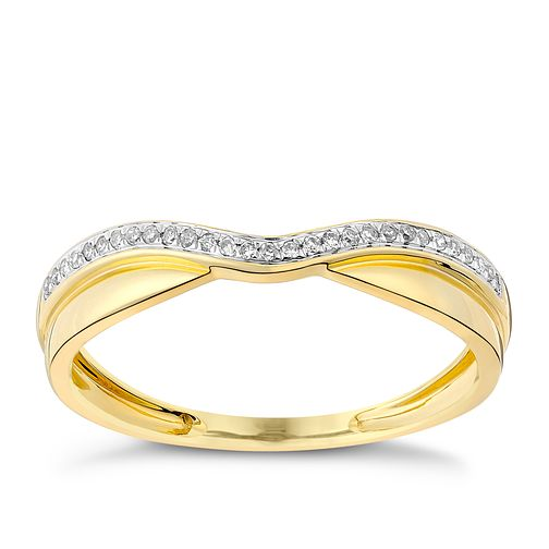 9ct gold polished and shaped diamond band - Product number 3599469