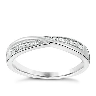 18ct White Gold Diamond Crossover Band - Product number 3599965