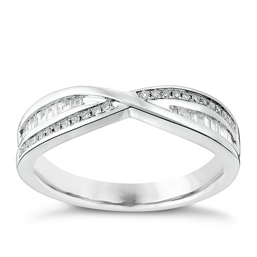 Platinum 20pt diamond round & baguette cross over band - Product number 3600440