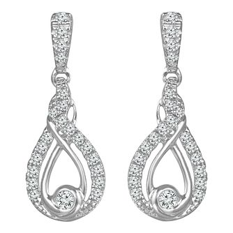 Interwoven Ladies' Sterling Silver 0.25ct Diamond Earrings - Product number 3603768