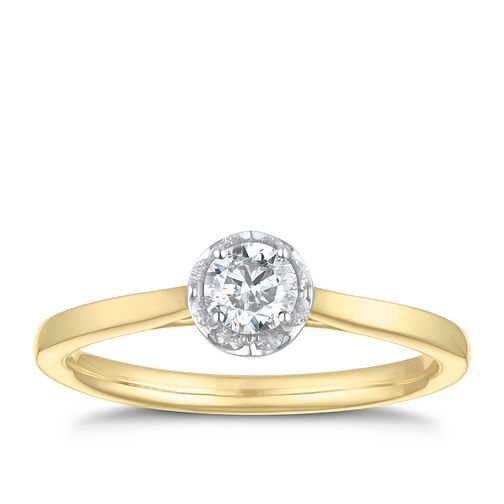 9ct Yellow Gold 2/5ct Diamond Solitaire Ring - Product number 3611930