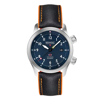 Bremont MBII-BL Men's Blue & Orange Fabric Strap Watch - Product number 3623610