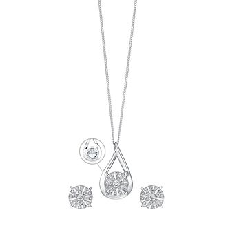 9ct White Gold 1/4 Carat Diamond Earring & Pendant Set - Product number 3624420
