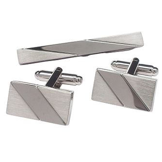 Brushed & Polished Tie Clip & Rectangular Cufflinks Set - Product number 3625818