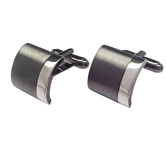 Gunmetal Grey & Rhodium Plated Curved Cufflinks - Product number 3625826