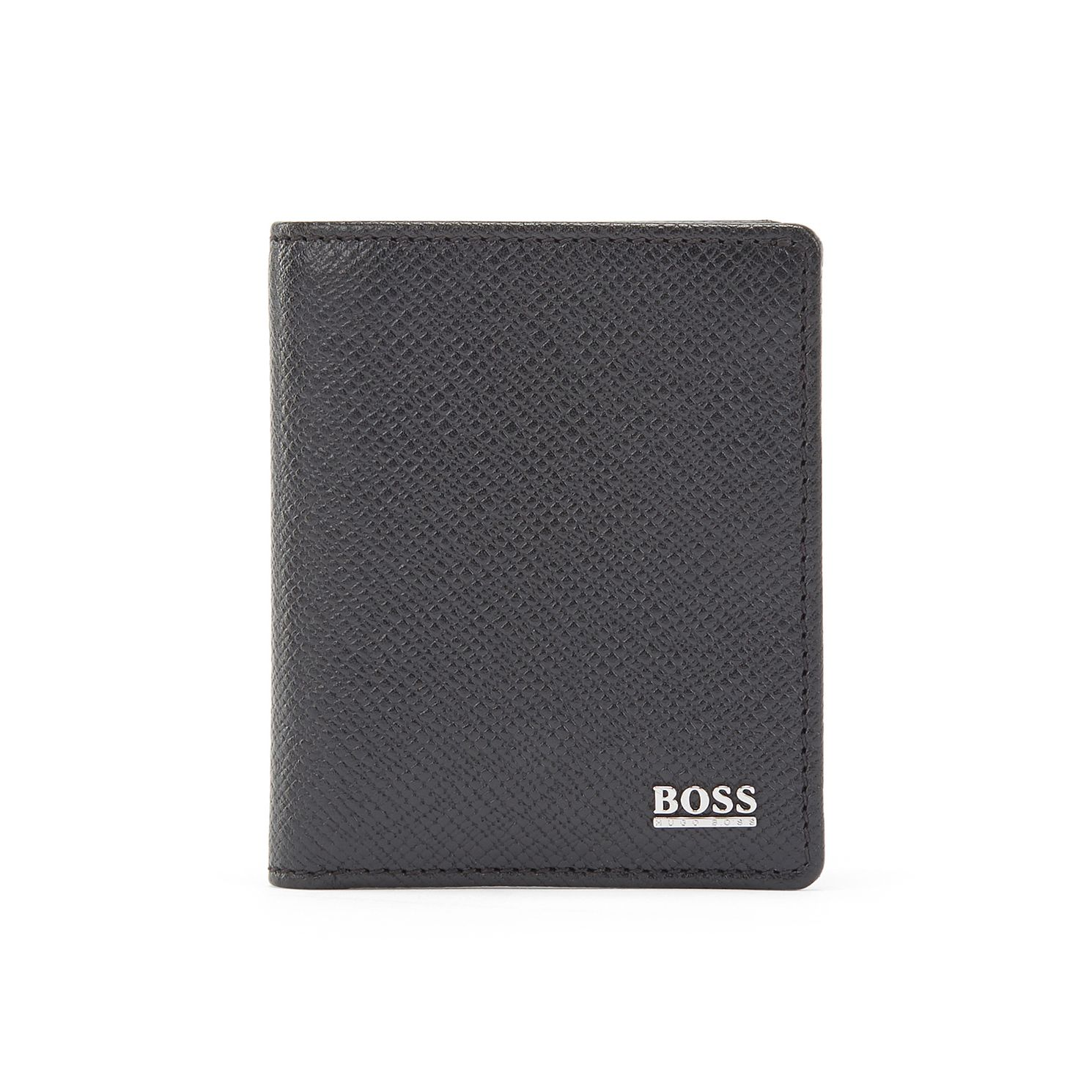BOSS Signature Collection Men's Black Leather Card Holder - Product number 3627187