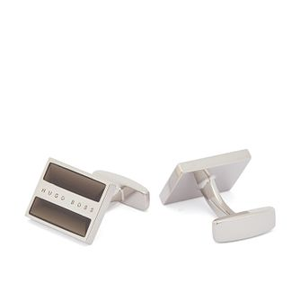 BOSS Danni Men's Grey Enamel & Silver Tone Square Cufflinks - Product number 3627438