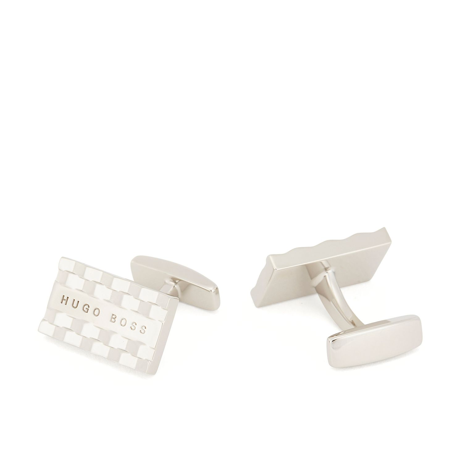 BOSS Nate Men's Silver Tone Rectangular Cufflinks - Product number 3627446