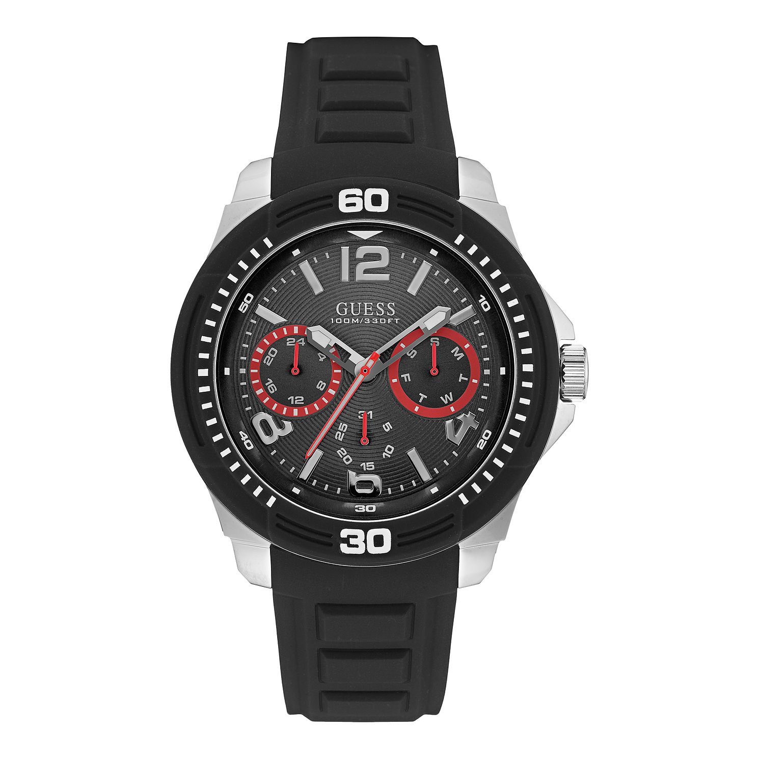 Guess Men's Black Rubber Strap Watch - Product number 3627462