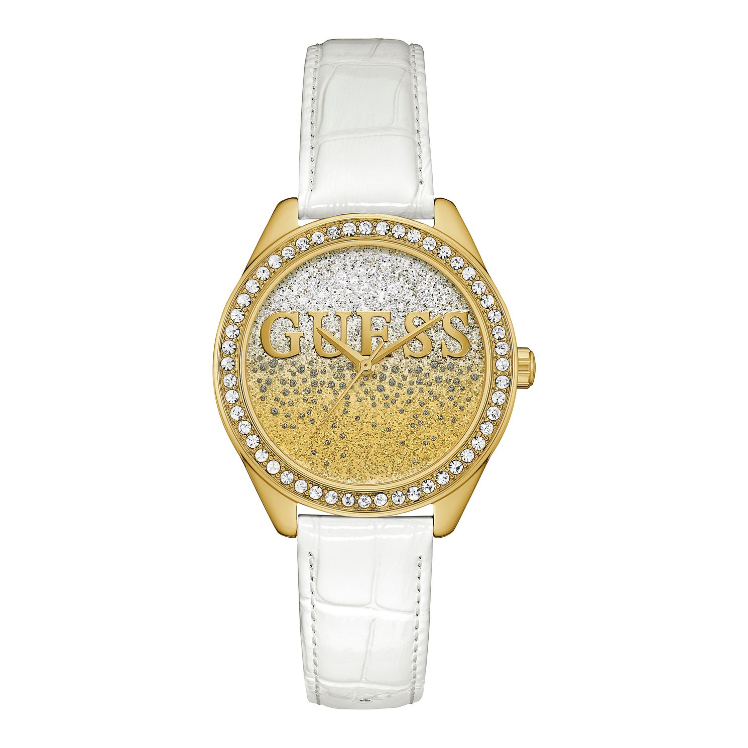 Guess Ombre Glitter Dial Ladies' White Leather Strap Watch - Product number 3627470