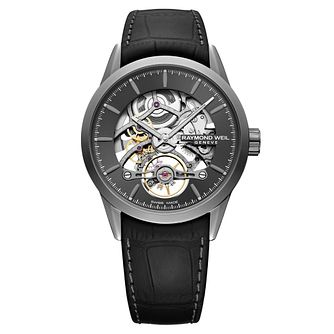 Raymond Weil Freelancer Skeleton Black Leather Strap Watch - Product number 3627640