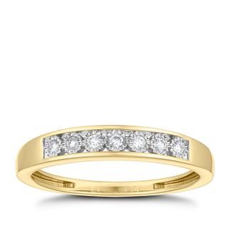 9ct Yellow Gold 0.08ct Diamond Illusion Set Eternity Ring - Product number 3629562