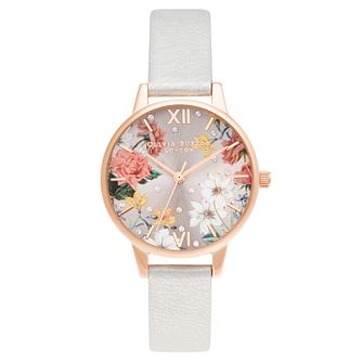 Olivia Burton Sparkle Flower Grey Leather Strap Watch - Product number 3630277
