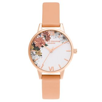 Olivia Burton Sparkle Flower Pink Leather Strap Watch - Product number 3630285