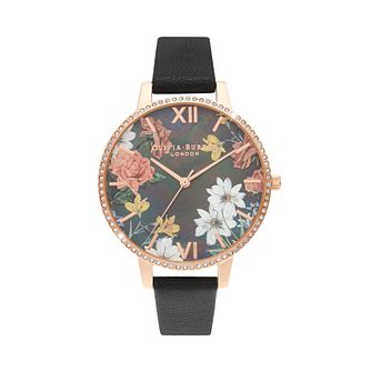 Olivia Burton Sparkle Flower Black Leather Strap Watch - Product number 3630293