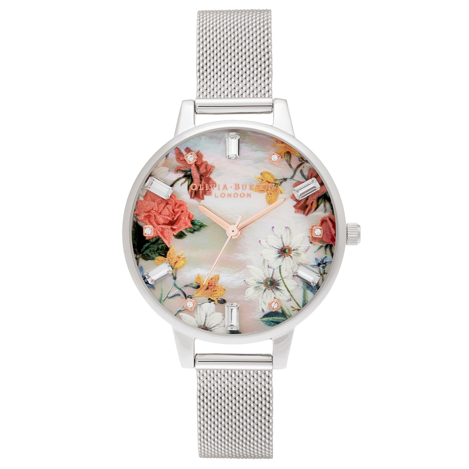 Olivia Burton Sparkle Flower Stainless Steel Bracelet Watch - Product number 3630374