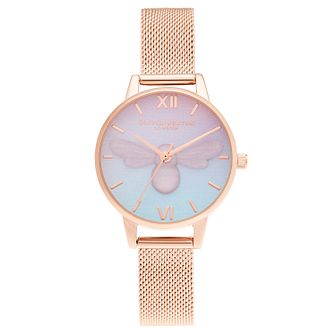 Olivia Burton Sweet Bee Rose Gold Tone Mesh Bracelet Watch - Product number 3630609