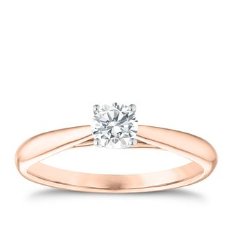 9ct Rose Gold 0.33ct Diamond Solitaire Ring - Product number 3631044